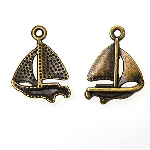 Monrocco 100pcs Sailboat Ship Charm Pendant for DIY Jewelry Making Bracelets Crafting Necklace Earrings 23x16mm (Antique Bronze) ()