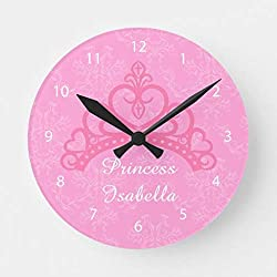 Aet3thew Elegant Pink Damask Princess Tiara for Girls Wooden Wall Clock Round Silent Home Decor Gift for Kitchen, Living Room, Bedroom 12 inch