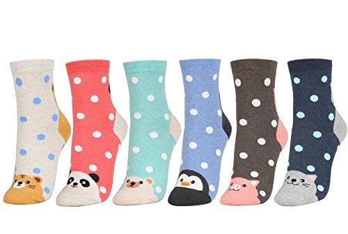 Women's Multi-Pattern Fashion Cotton Ankle Socks (One Size, 6Pair - Animal & Dot)