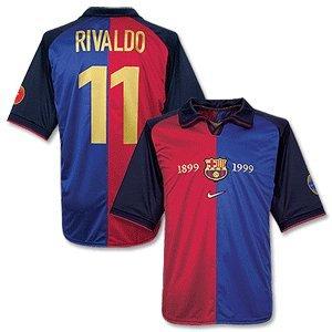 buy popular aa461 dd2df 1999 Barcelona Centenary Jersey + Rivaldo 11 (Fan Style)-M ...
