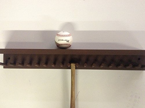 Baseball Bat Rack and Ball Holder Display Meant to Hold 17 Mini Size Collectible Bats and 6 Baseballs Brown by MWC