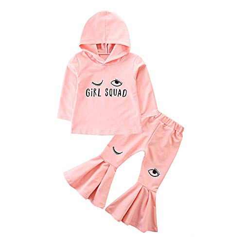 Miwear Kids Clothes Baby Girls Wink Eyelash Print Long Sleeve Hoodie Top + Flare Pants Outfits Set