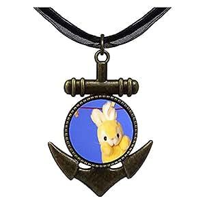 Chicforest Bronze Retro Style Clothesline Bunny Rabbit Anchor Pendant