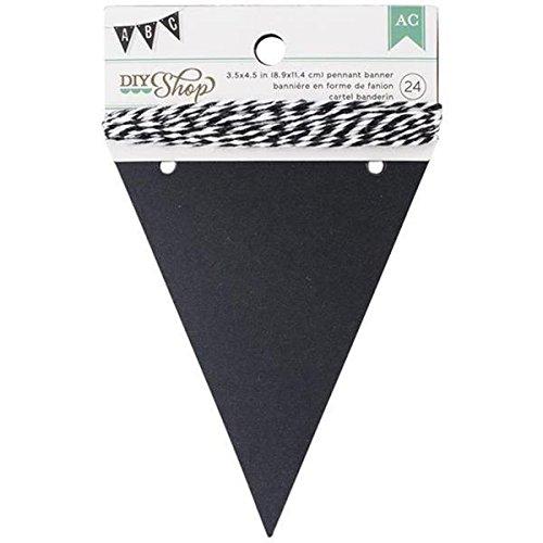 American Crafts 24-Piece Pennant DIY Shop Chalkboard Banner, 3.5 by 4.5-Inch -