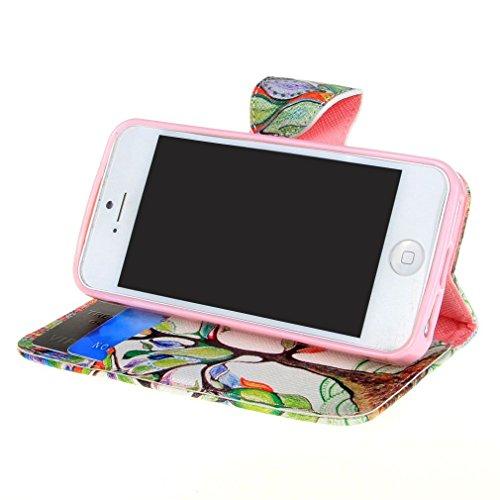 iPhone 55S PU Housse en cuir, ruirs joli Arbre Vert Frais et feuille style étui à rabat en cuir PU avec fermeture à rabat magnétique avec support Housse Etui Portefeuille pour iPhone 5iPhone 5S