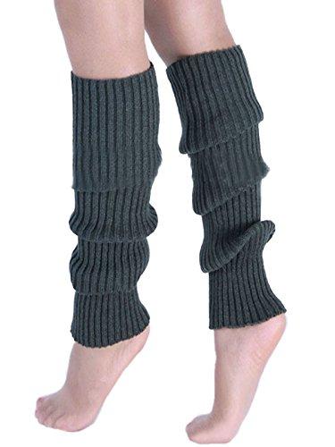 de colores rodilla punto de Calcetines de bota Jelinda de pierna Causal la invierno hasta 10 oscuro Gris Manguitos Calentadores SaAIR