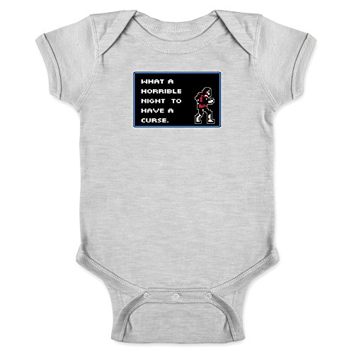 What A Horrible Night to Have a Curse 8 Bit Quote Gray 6M Infant Bodysuit -