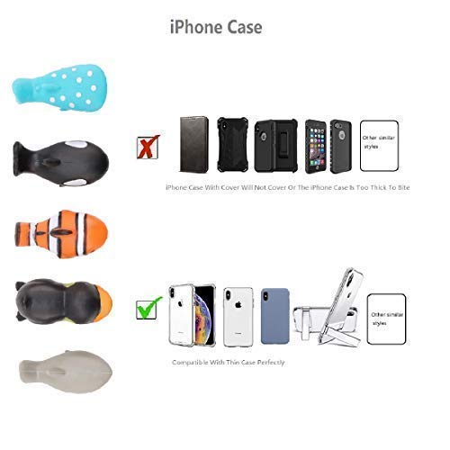 Epessa 5 PCS Cable Bites for iPhone Cable, Marine Animals Terrestrial Animals Dinosaurs and Fish Animal Bite Cable Protector are Available (Marine Animals) by Epessa (Image #3)