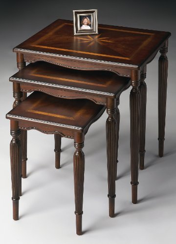 Accent Furniture - Starburst Inlaid Nesting Table Set/3 - Cherry Finish - Inlaid Accent
