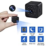 SIBOTER Spy Camera Hidden Security Camera 1080P HD with Motion Detection Night Vision Portable Nanny Cam Mini Small Body Cam Outdoor Indoor Home Office Video Recorder