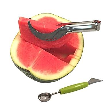 Stainless Steel Watermelon Slicer Corer & Server Cutter Knife & Melon Baller Carver Knife - Kitchen Gadget Set