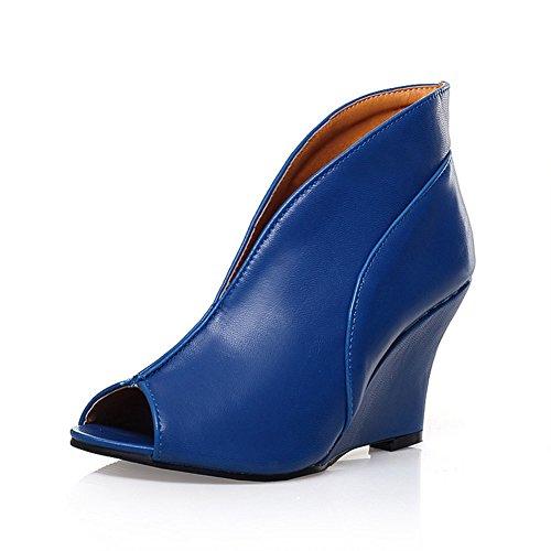 Cunei Chfso Da Donna Con Plateau E Tacco A Spillo V Topline Slip On Pumps Shoes Blue