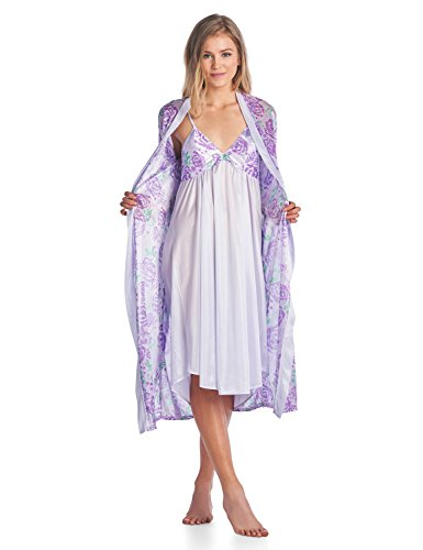 (Casual Nights Women's Satin 2 Piece Robe and Nightgown Set - Purple - XX-Large )