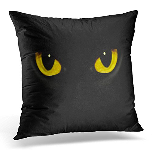 TOMKEYS Throw Pillow Cover Black Panther Cat Eyes in Dark Night Yellow Animal Halloween Decorative Pillow Case Home Decor Square 18x18 Inches (Cat Makeup Halloween Ideas)