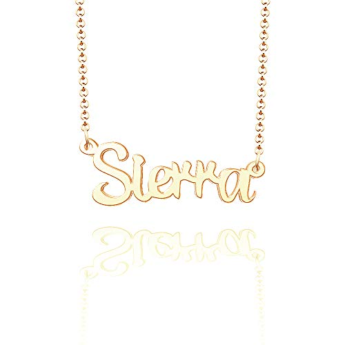 LoEnMe Jewelry Sierra Name Necklace of Rose Gold Plated Custom Made Sterling Silver Personalized Gift for Women Girls Couple