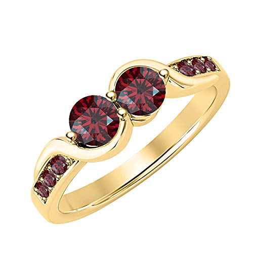 (tusakha Women's Round Cut Created Red Garnet 14K Yellow Gold Two Stone Engagemet Ring 925 Sterling Silver)