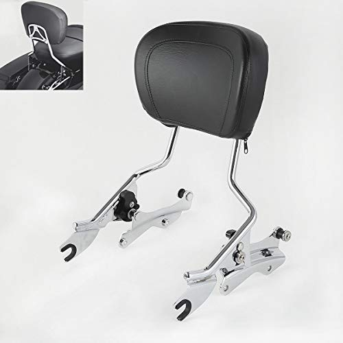 TCMT Detachable Passenger Backrest Sissy Bar With 4 Point Docking Hardware Kits Fits For Harley Street Glide 2014-2019 (Chrome, Style A)