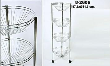 DonRegaloWeb - Carro verdulero de cocina de acero con 4 pisos y ruedas: Amazon.es: Hogar