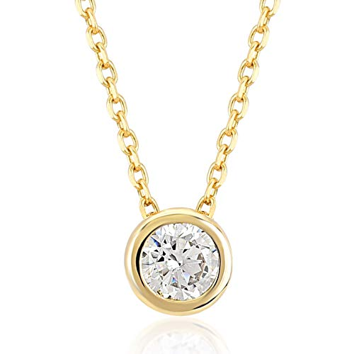 (Gelin 14k Yellow Gold Cubic Zirconia Round Solitaire Pendant Chain Necklace for Women, 18 inch)