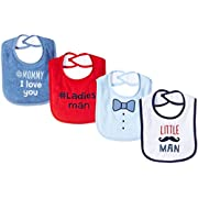 Luvable Friends Baby Baby Drooler Bib, 4 Pack, little man, One Size