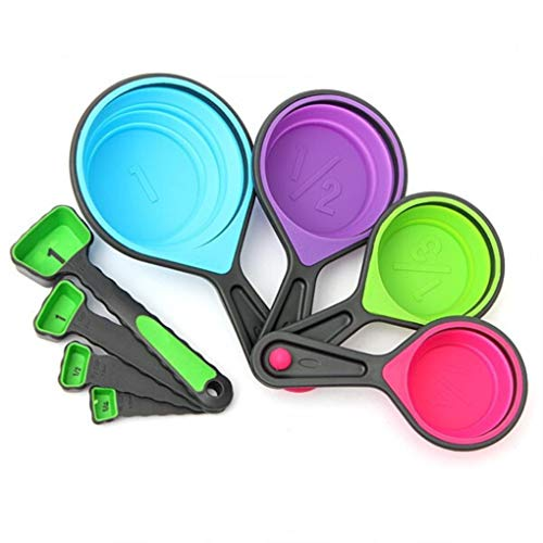 8pcs Silicone Colorful Collapsible Measuring Cups Spoons Kitchen Tool Cream Cooking Gadget from Yongse