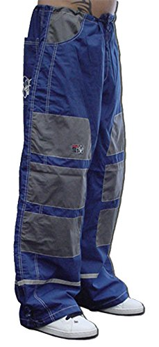 Ghast Unisex Cargo Drawstring Patch Rave Dance Pants, Navy Blue w/ Charcoal Patches X-Large (Dancing Machine Mc Hammer)