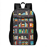 17 Inch School Laptop Backpack,Library Themed Cartoon with Shelves Full of Books School Study Education Print,Casual Daypack for Business/College/Women/Men