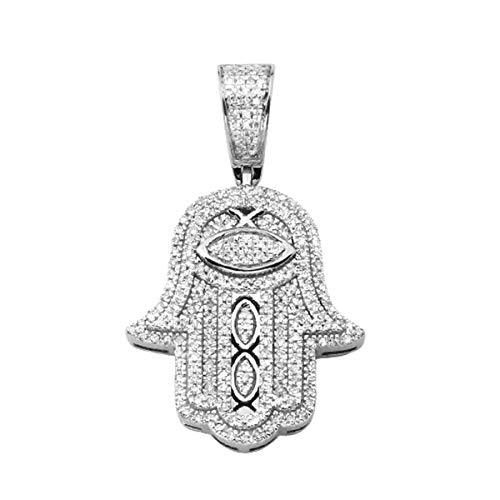 0.36 Ct Round Cut Natural Diamond Hamsa Pendant In Solid 10K White Gold
