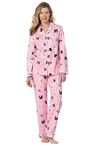 PajamaGram Cotton Womens Pajama Sets - Cat Pajamas for Women, Pink, Large 14-16