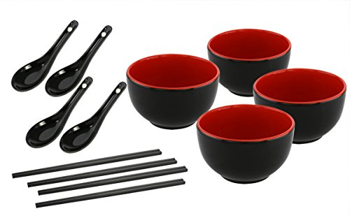 KOVOT Asian Cuisine Ceramic Serving Bowl Set - Includes (4) 20-Ounce Bowls, (4) Oriental Spoons, (4) Sets Of Chopsticks