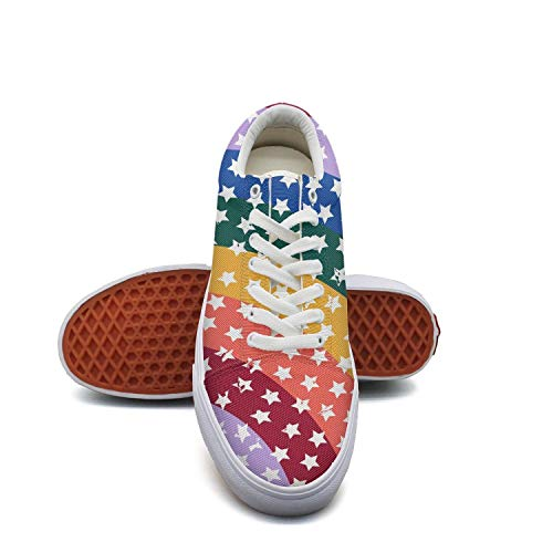 fvnoui Women'sCamo Gay Pride Flag Canvas Shoes Low-Cut Straps Funky Sneakers Suitable for Walking