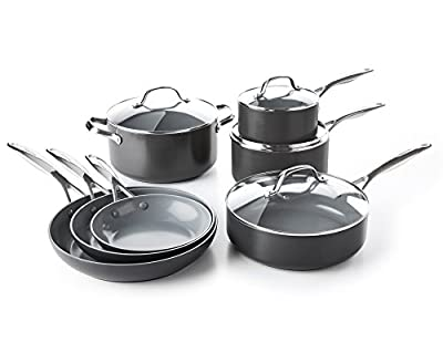 GreenPan CC000675-001 Valencia Pro Ceramic Non-Stick 11pc Set Cookware, Large, Gray
