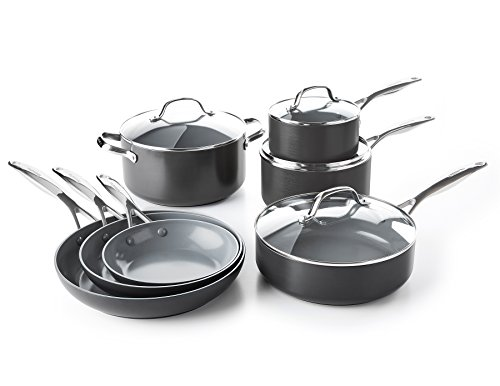 Cookware Non Set Ceramic Stick (GreenPan CC000675-001 Valencia Pro Hard Anodized 100% Toxin-Free Healthy Ceramic Nonstick Metal Utensil Dishwasher/Oven Safe Cookware Set, 11-Piece, Grey)