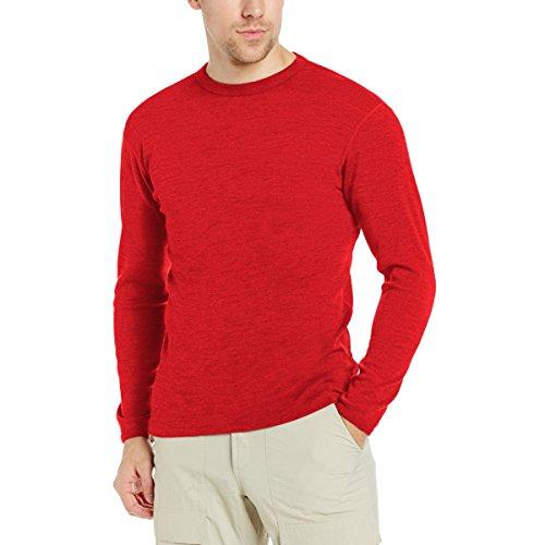 Minus33 Merino Wool Men's Chocorua Midweight Crew, True Red, Large