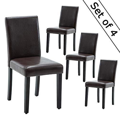 LSSBOUGHT Set of 4 Urban Style Leatherette Dining Chairs Brown Dining Room Chair with Solid Wood Legs,Set of 4(Brown)