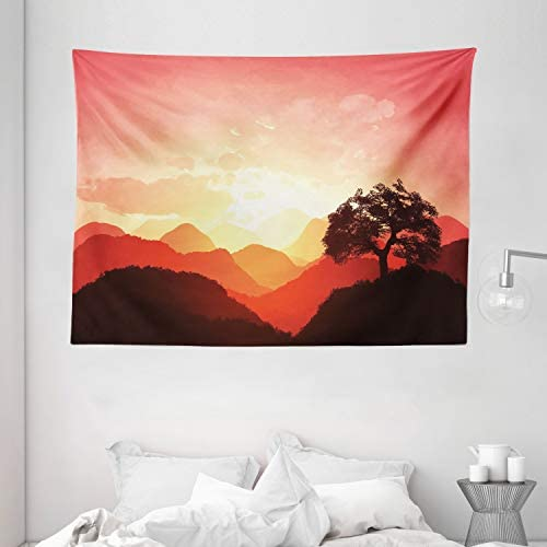 Ambesonne Mystic Tapestry, Oriental Sunset View with Tree and Mountains Mystique Hills, Wide Wall Hanging for Bedroom Living Room Dorm, 80 X 60 , Brown Orange