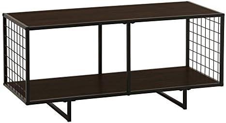 Household Essentials Rectangular Coffee Table with Storage 40 W x 18.5 H x 16.75 D Dark Walnut, Brown