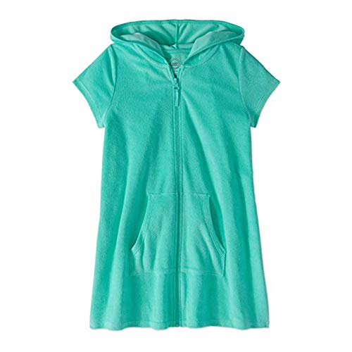 Wonder Nation Girls Hooded Zip Front Terry Swimsuit Cover Up (XX-Large 18, Aqua Mint)