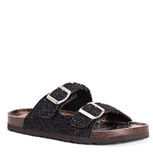 MUK-LUK Women's Juliette Sandals Black Glitter 9