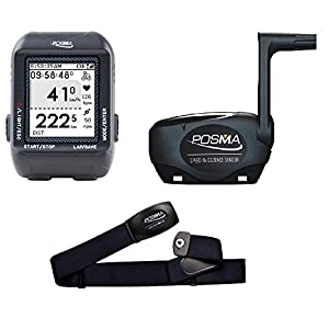 POSMA D2 GPS Wireless Cycling Computer Speedometer Odometer Bundle with Speed/Cadence Sensor and Heart Rate Monitor support Navigation, ANT+ connection, STRAVA and MapMyRide