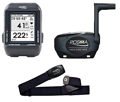 POSMA D2 GPS Wireless Cycling Computer Speedometer Odometer Bundle with Speed/Cadence Sensor and Heart Rate Monitor support Navigation, ANT+ connection, STRAVA and MapMyRide by Trywin