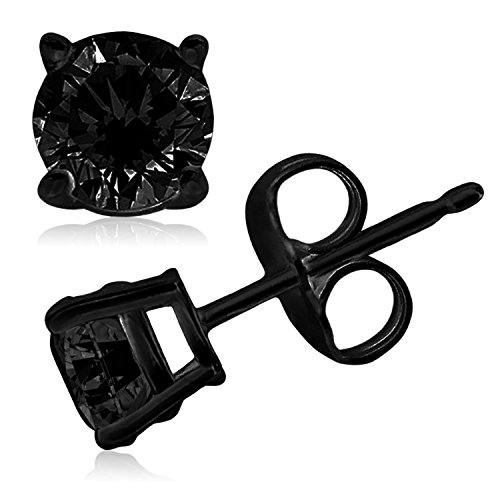 Black Sterling Silver 5mm Round Cubic Zirconia Gem Stud - Black Diamond Tiffany
