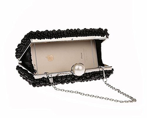 Frame Embedded Purse Party Clutch Wedding KELAND Bridal Bag Evening Womens Handbag Faux Pearl Black Beaded PH7qA