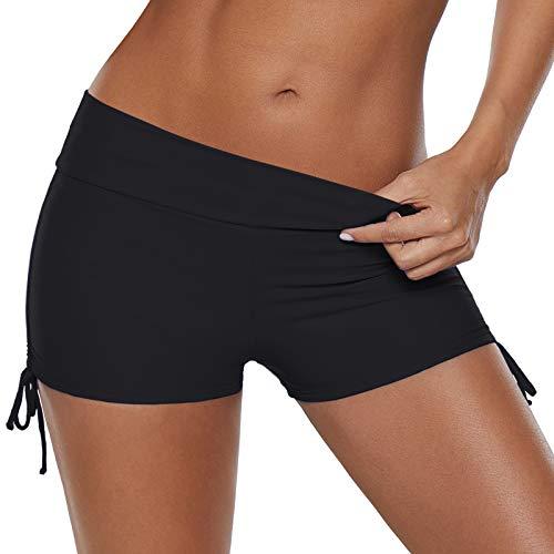Zando Womens Swim Shorts Bathing Suits for Womens Board Shorts Swimsuit Bottoms Swimming Shorts Plus Size Swimwear Sport Bike Shorts Black (Ties) S