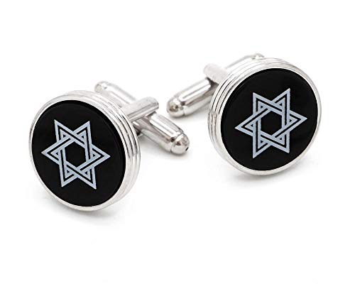 - JJ Weston Star of David Engraved on Onyx Cufflinks. Made in The USA