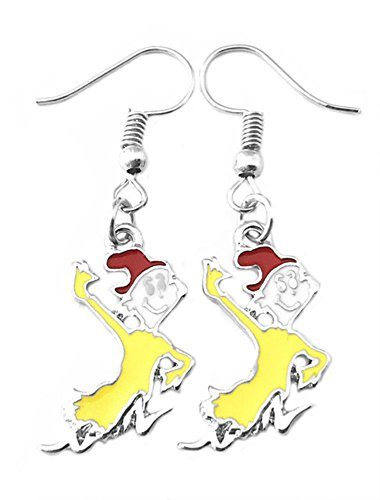 Dr Seuss Cat in the Hat Premium Quality Silvertone Dangle Earrings for $<!--$10.97-->