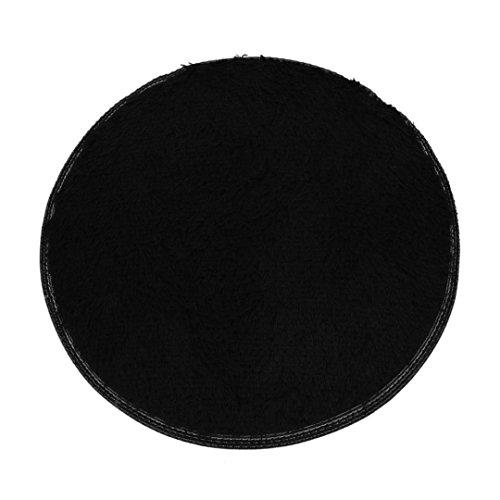 Ularma Badvorleger Durchmesser Φ 40cm Badematte Fleece Badteppich (schwarz)
