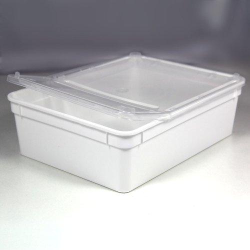 BraPlast Dose 3,0 Liter 24,5 x 18,5 x 7,5 cm - weiß mit transparentem Deckel / Kunststoff Stapelbox
