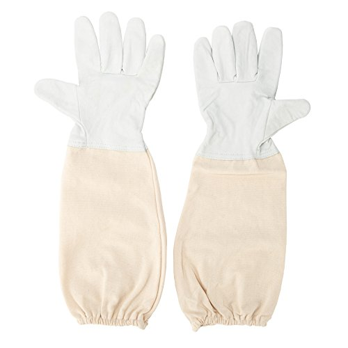 (CO-Z Beekeeping Protective Gloves, Beekeeper's Premium Lamb Leather Gauntlets with Durable Canvas Vented Long Sleeves, Sting Proof Elastic Cuffs-XXL)