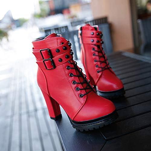 Jimma Bottes Femme,Bottines pour Dames à la Mode Talons Hauts Bottes de Selle à tête Ronde en Cuir Talons Hauts Rivets lacés Couleur Unie Bottes